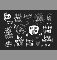 set elegant valentine s day letterings vector image