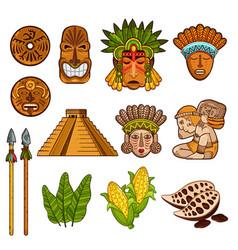 set of ethnic ancient cultural elements vector image
