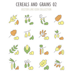 set retro icons cereals and grains vector image