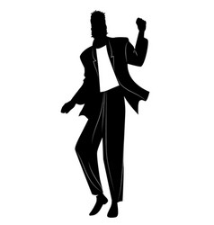 Silhouette man dancing new wave music wearing vector