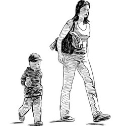 sketch a young mother with her little son vector image