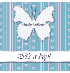 Striped-background-baby-shower-butterfly-blue vector image