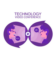 technology video conference two human talk backgro vector image