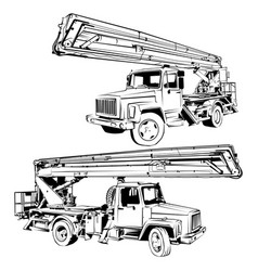 Truck aerial platform black and white vector