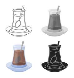 turkish tea icon in cartoon style isolated on vector image