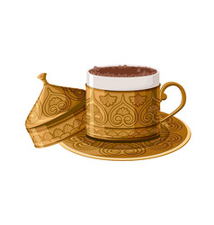 turkish traditional decorated copper coffee cup vector image