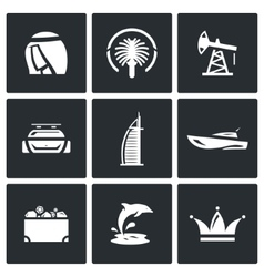 United Arab Emirates icons set vector