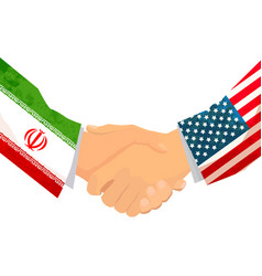 usa and iran handshake concept vector image