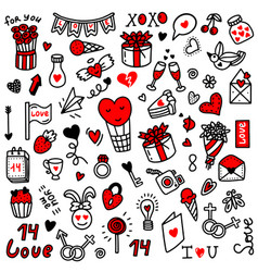 Valentines day love setdoodle style vector