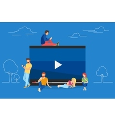 Video watching concept vector image