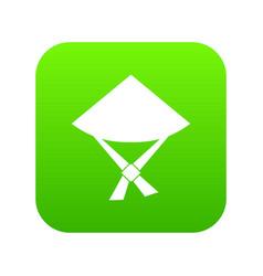 Vietnamese hat icon digital green vector