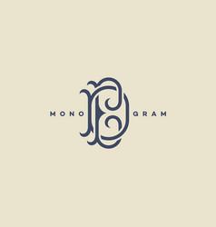 Vintage monogram bd vector