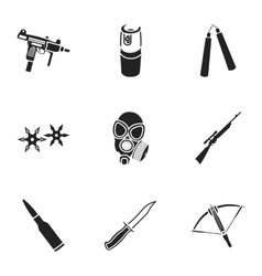 Weapon set icons in black style Big collection of vector