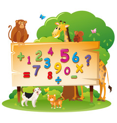 Wild animals and many numbers on board vector