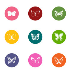 Wing of butterfly icons set flat style vector