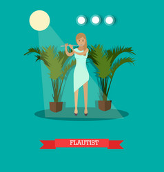Woman playing flute in flat vector