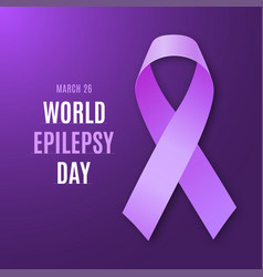 World epilepsy day purple ribbon vector