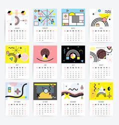 calendar in memphis style vector image