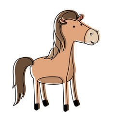 horse cartoon in watercolor silhouette with thin vector image