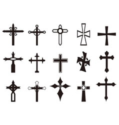 religious cross symbol set vector image vector image