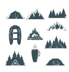 summer camp with design elements camping and vector image
