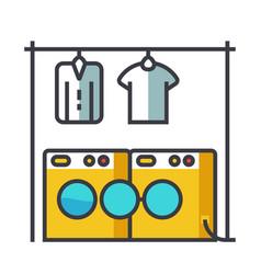 laundry washhouse flat line concept vector image