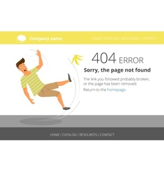 Man slipped on a banana Page not found Error 404 vector image