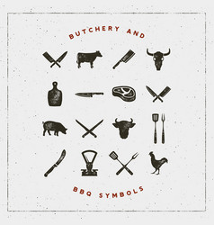 set of butchery and barbecue symbols vector image