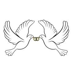 wedding two doves icon cartoon vector image