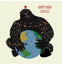 Crisis monkey and world card or placard vector image vector image