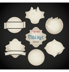 scratched vintage labels set vector image