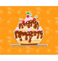 Sponge cake dessert with sweet vector