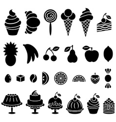 Sweet baked food and fruit silhouettes set vector image