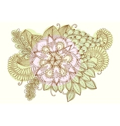 Vintage card with doodle flowers vector image