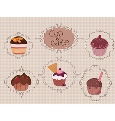 vintage cupcakes background vector image vector image