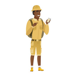 african-american traveler holding a mobile phone vector image vector image