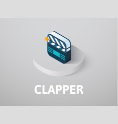 clapper isometric icon isolated on color vector image