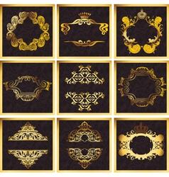 Decorative Golden Ornate Quad Frames vector image
