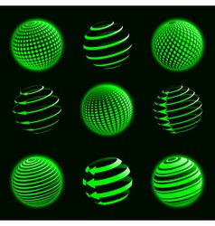 green planet icons vector image vector image