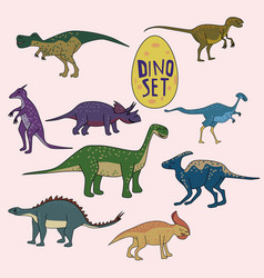 set of dinosaurs funny cute animals isolated vector image