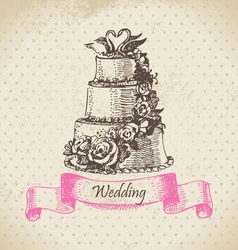 Wedding cake hand drawn vector image vector image