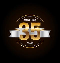 35 years anniversary celebration logotype golden vector