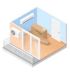 Air conditioner in empty room with balcony vector