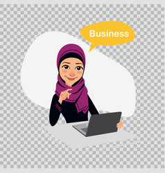 Arab business woman sitting at table in office vector