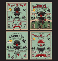 Barbecue party invitation set vector