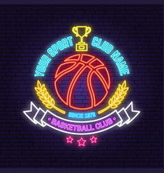 basketball sport club badge neon design or emblem vector image