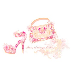 Beautiful floral female shoes and bags vector image
