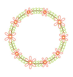 beautiful floral wreath with spring flowers leaves vector image vector image