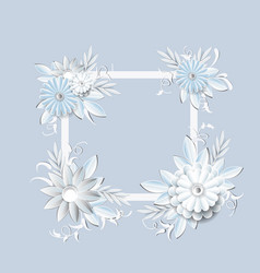 beautiful flowers frame isolated on grey vector image