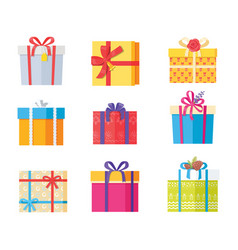 big collection present gift boxes color wrapping vector image